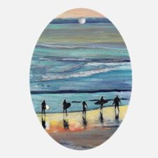 surfer painting by RD RIccoboni Oval Ornament