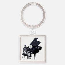 Pianoplayertransparent Square Keychain