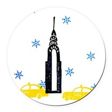 NYC Holiday Round Car Magnet