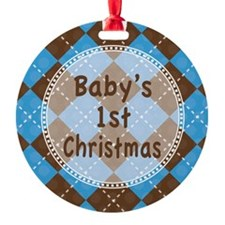 Argyle1stChristmasBlue Ornament