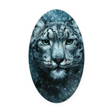 Snow Leopard Oval Car Magnet