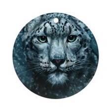 Snow Leopard Round Ornament