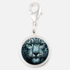 Snow Leopard Silver Round Charm