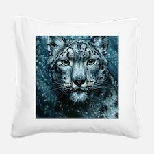 Snow Leopard Square Canvas Pillow