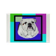 Lovely Bulldog Head Rectangle Magnet