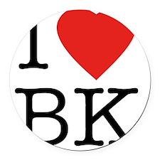 I-love-bk Round Car Magnet