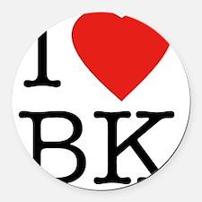 I-loveBK Round Car Magnet