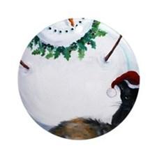 Kitties in the Snow Round Ornament