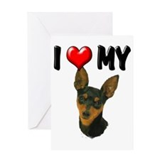 I Love My Min Pin Greeting Card