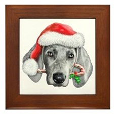 Weimaraner  Christmas CP copy Framed Tile