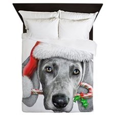 Weimaraner  Christmas CP copy Queen Duvet