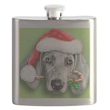 Weimaraner Christmas stuff Flask