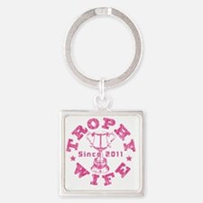 Trophy Wife 2011 Pink Square Keychain