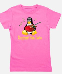 penguin_support_the_arts_transparent Girl's Tee