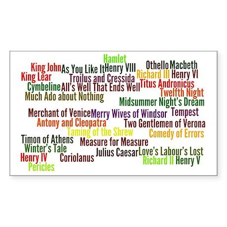 Shakespeare Plays Sticker (Rectangle)