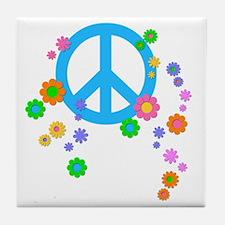 peace08-blk Tile Coaster
