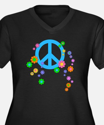 peace08-blk Women's Plus Size Dark V-Neck T-Shirt