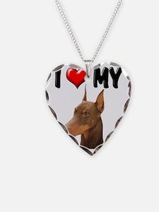 I Love My Doberman Necklace