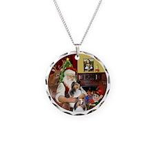 R2-Santa - 2 Shelties (DL) - Necklace Circle Charm
