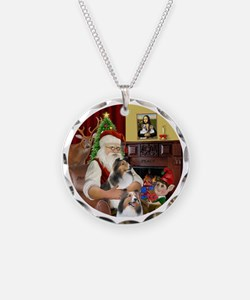 R2-Santa - 2 Shelties (DL) - Necklace Circle Charm