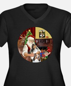 R2-Santa - 2 Women's Plus Size Dark V-Neck T-Shirt