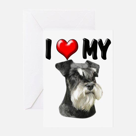 I Love My Miniature Schnauzer Greeting Card