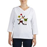 Christmas moose V-Neck 3/4 Sleeve - Light (White)