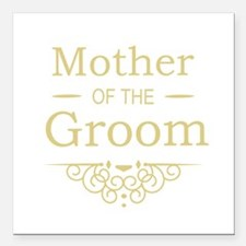 "Mother of the Groom gold Square Car Magnet 3"" x 3"""