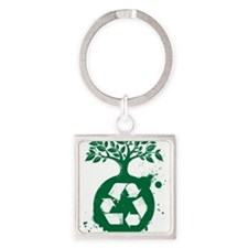 green recycle Square Keychain