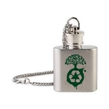 green recycle Flask Necklace