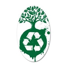 green recycle 35x21 Oval Wall Decal