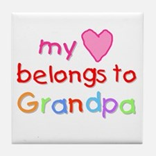 My Heart Belongs to Grandpa (A) Tile Coaster