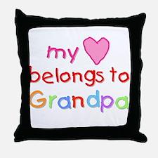 My Heart Belongs to Grandpa (A) Throw Pillow