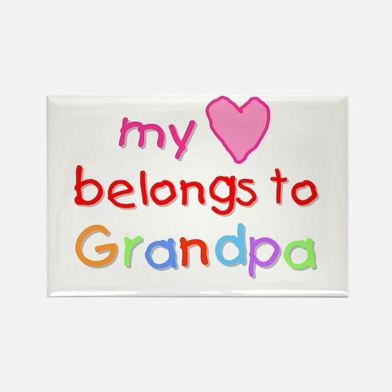 My Heart Belongs to Grandpa (A) Rectangle Magnet