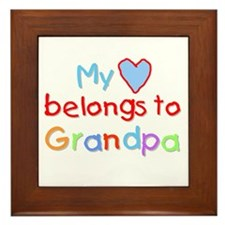 My Heart Belongs to Grandpa (B) Framed Tile