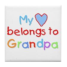 My Heart Belongs to Grandpa (B) Tile Coaster