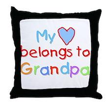 My Heart Belongs to Grandpa (B) Throw Pillow