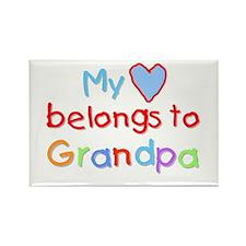 My Heart Belongs to Grandpa (B) Rectangle Magnet