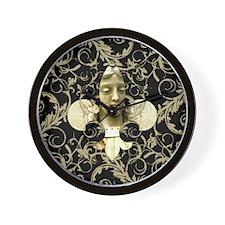 fleurAngelStatPBsq Wall Clock