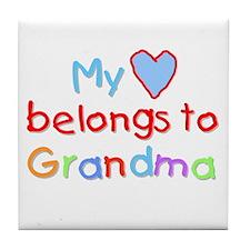 My Heart Belongs to Grandma (B) Tile Coaster