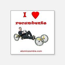 "I love recumbents StreetFig Square Sticker 3"" x 3"""