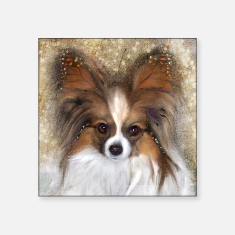 """Butterfly Ears Papillon Square Sticker 3"""" x 3"""""""