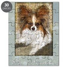 Butterfly Ears Papillon Seasons Greetings Puzzle