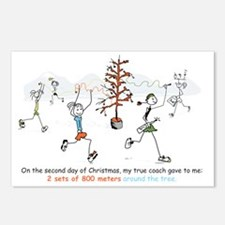 runners_around_christmas_ Postcards (Package of 8)