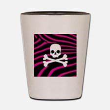 Skull Hot Pink Zebra Shot Glass