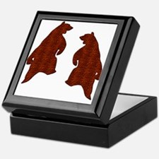 BROWN TEXTURED DANCING BEARS Keepsake Box
