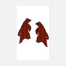 BROWN TEXTURED DANCING BEARS Rectangle Decal