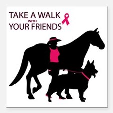 "AwalkWithFriends Square Car Magnet 3"" x 3"""