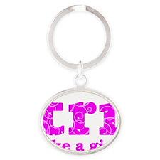 trilikeagirl_pink Oval Keychain