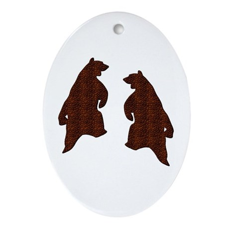 DARK BROWN TEXTURED DANCING BEARS Oval Ornament